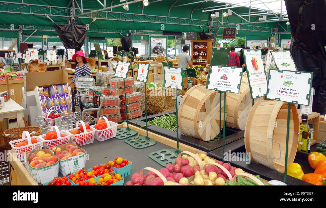 Farmers market products at a farm in Barrie, Canada Stock