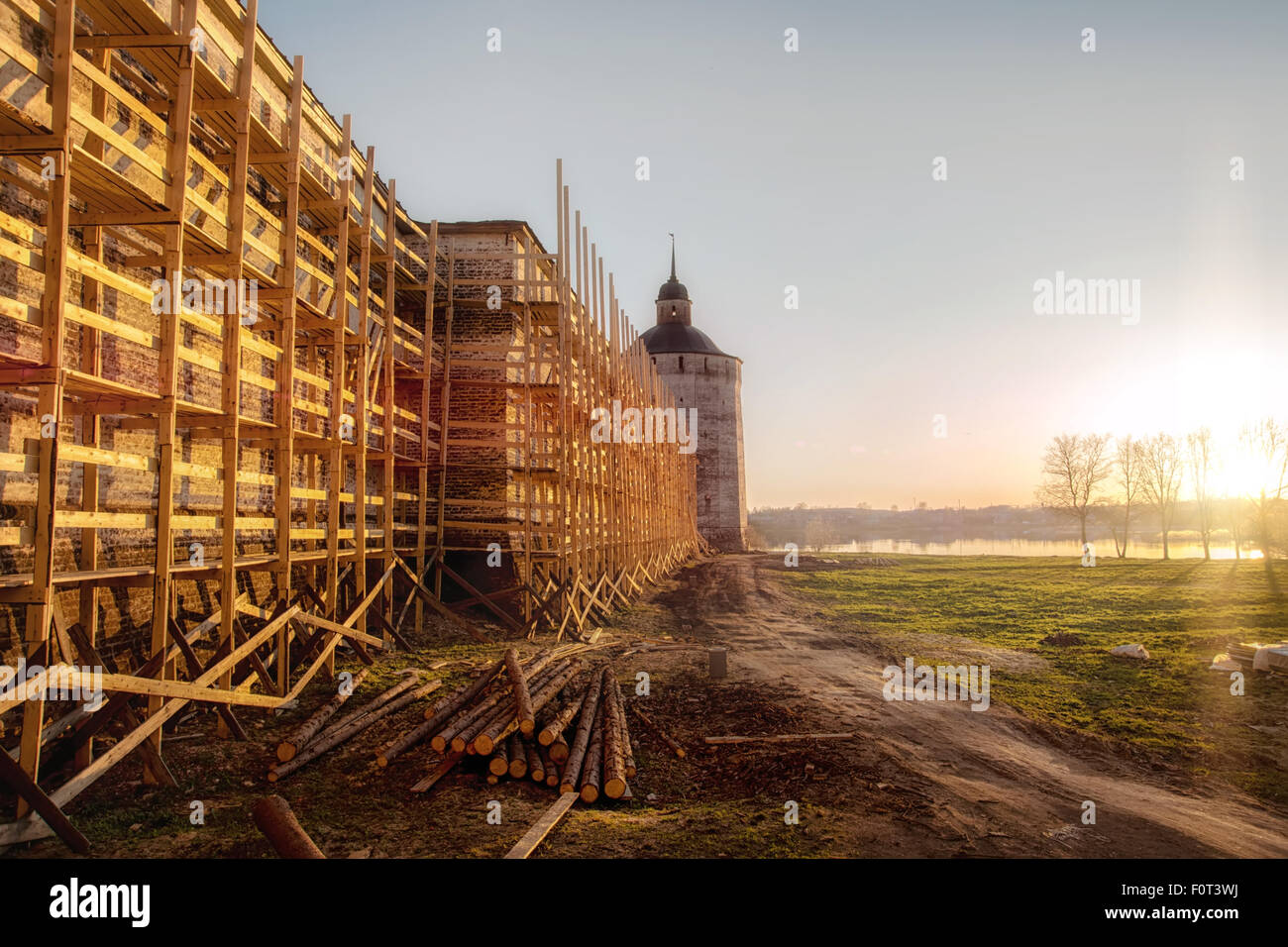 Kirillo-Belozersky Monastery. Reconstruction works - Stock Image