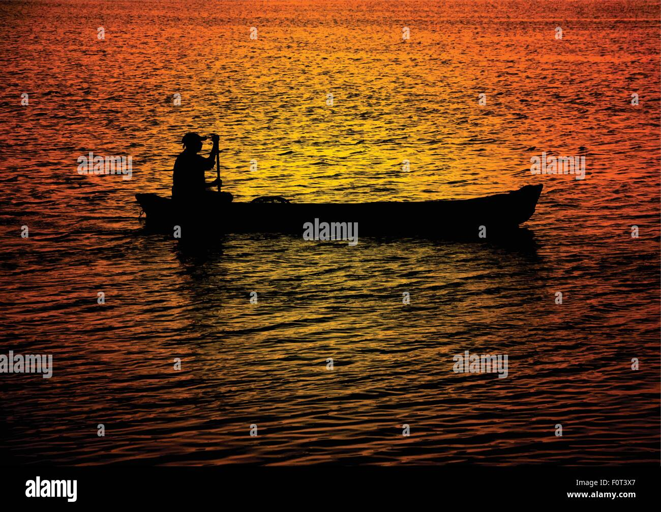 Silhouette of a lone man rowing a canoe in water reflecting dramatic sunset colors. - Stock Vector