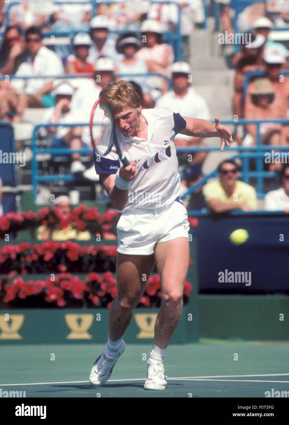fac9e56f411c Boris Becker in action at the Newsweek Champions Cup tournament in Indian  Wells