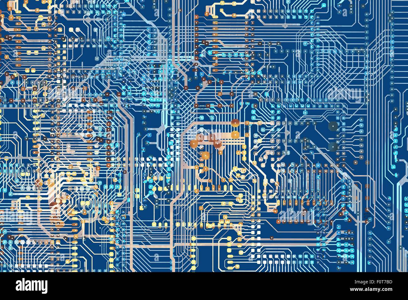Colorful Circuit Board Background Illustration. Circuit Connections ...