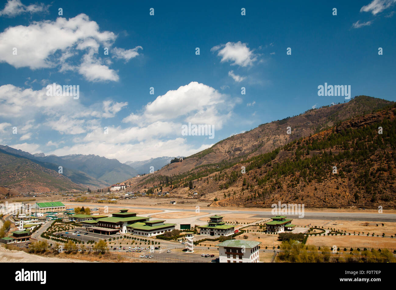Paro Airport in the Mountains - Bhutan - Stock Image
