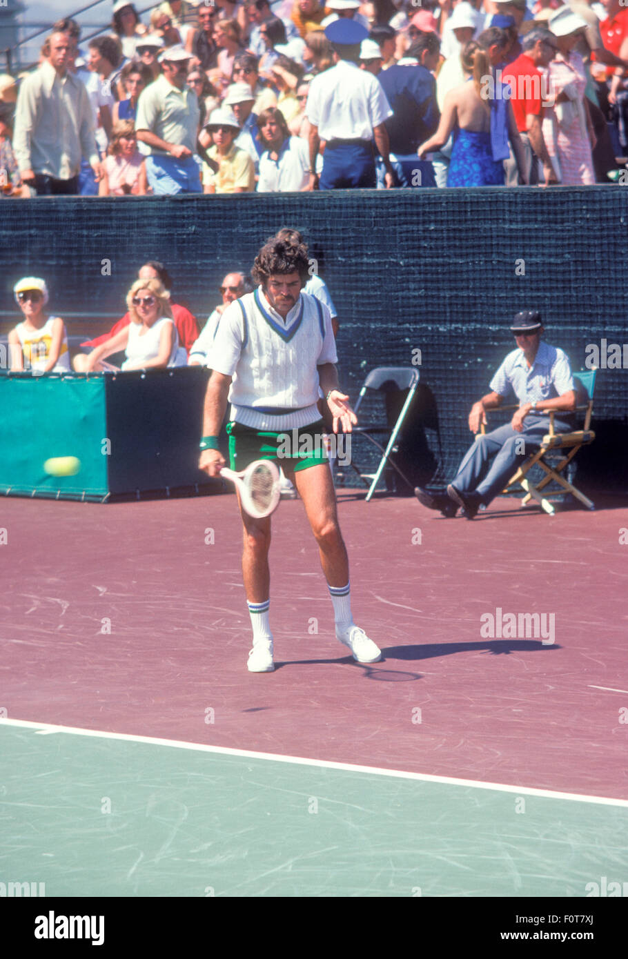 Tom Gorman in action at tennis tournament in September 1974. - Stock Image
