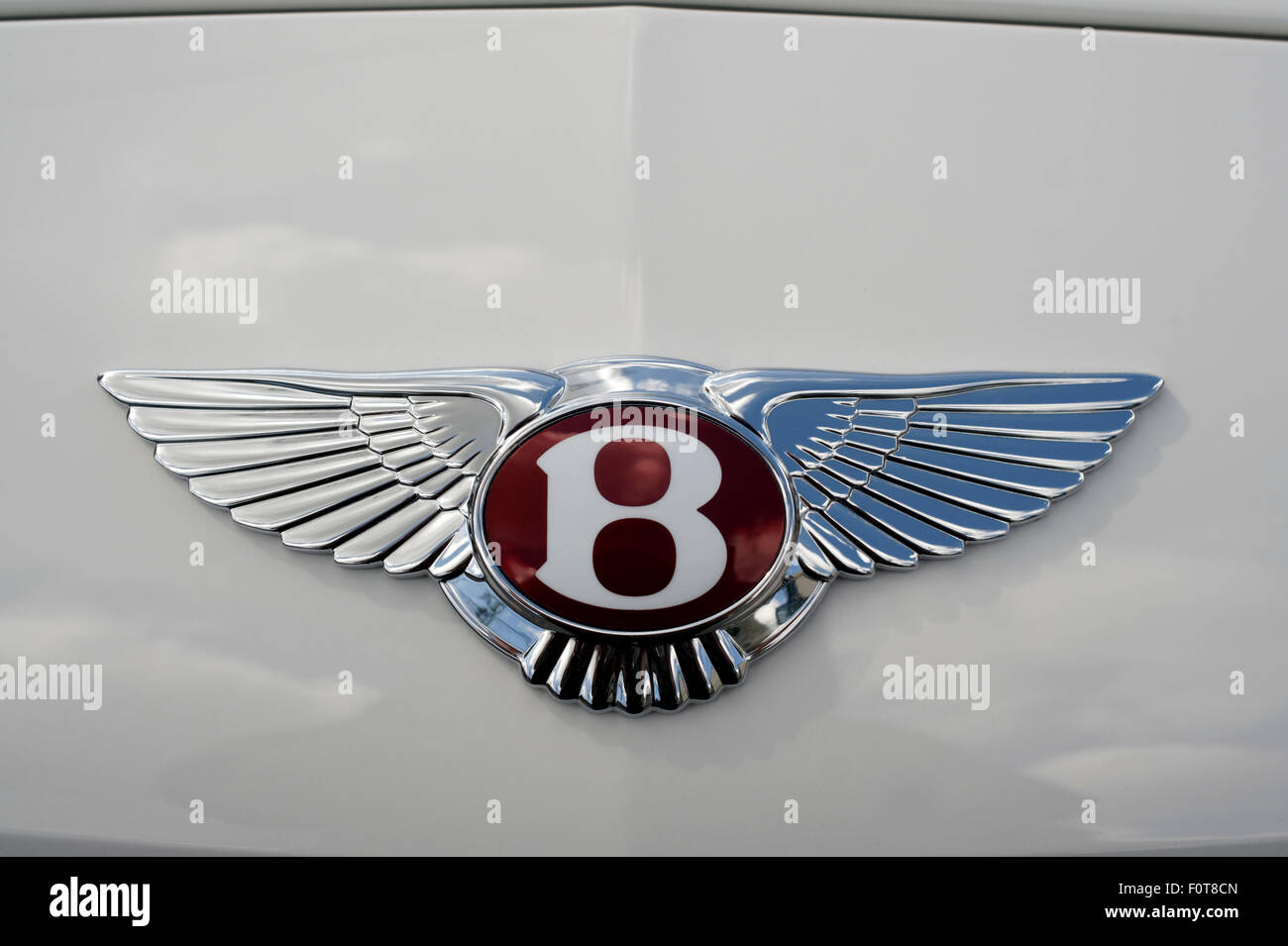 Close-up of a winged Bentley motors insignia on a white Bentley luxury car - Stock Image