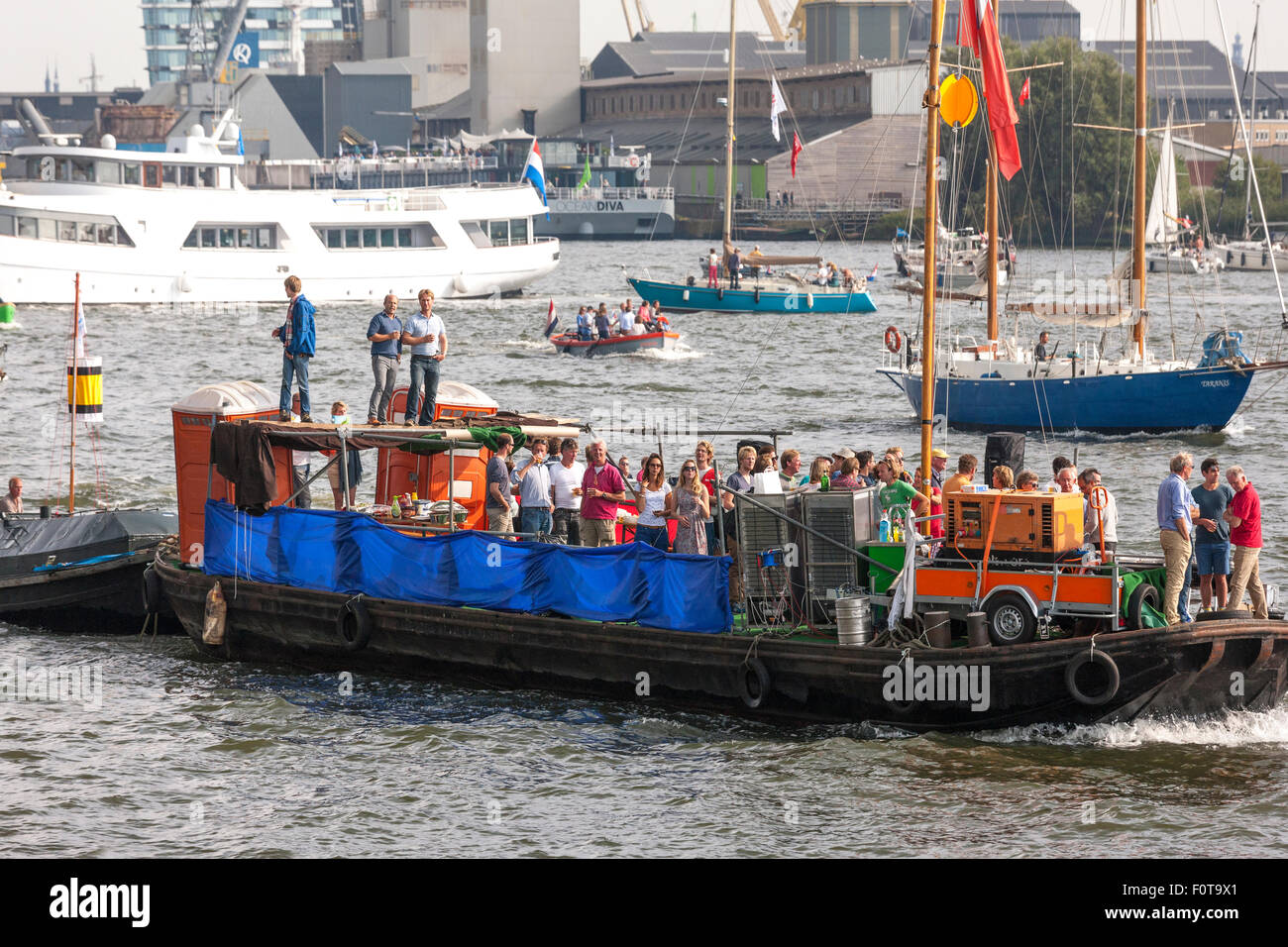 A primitive improvised party ship, boat Amsterdam Sail 2015 - Stock Image