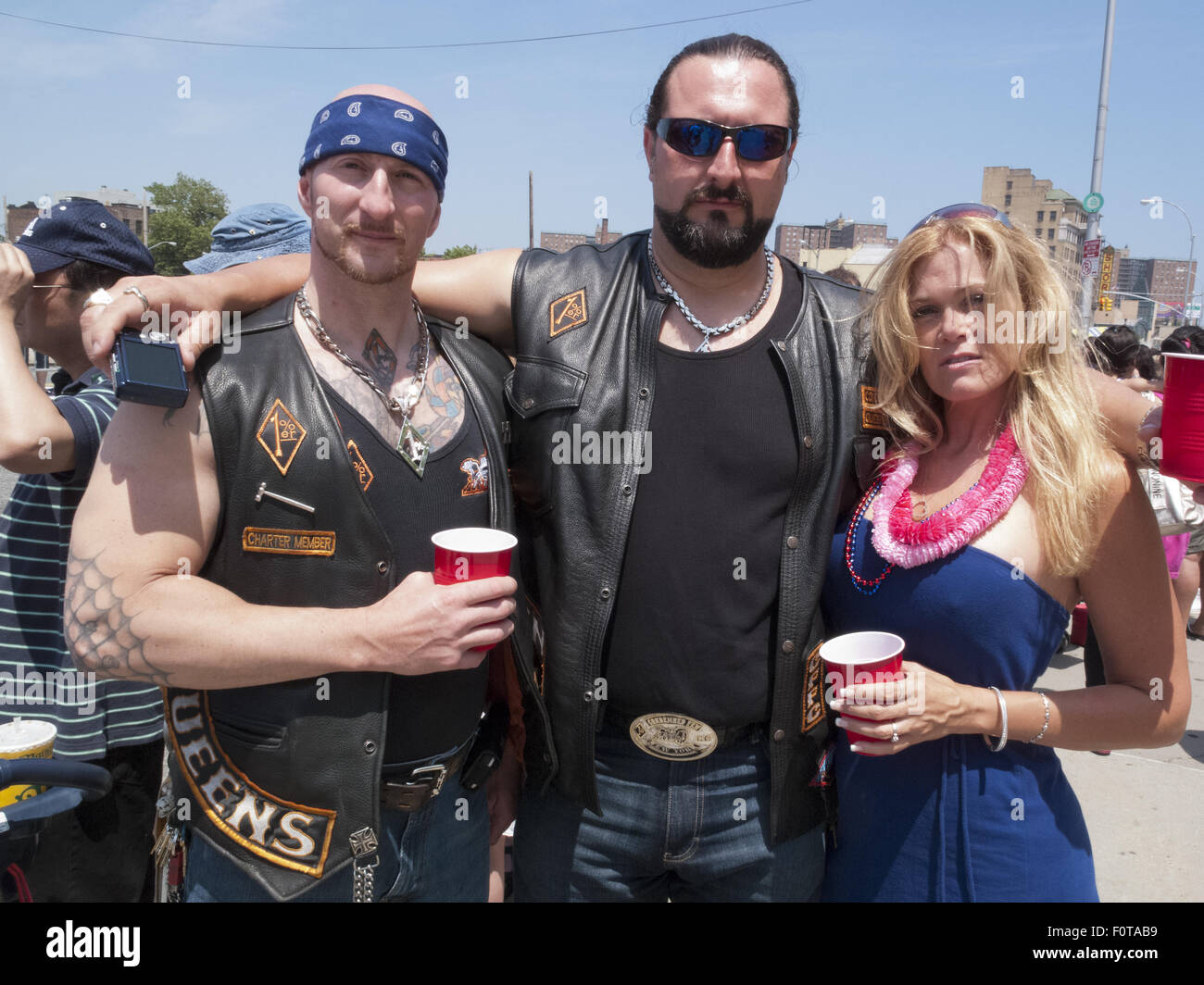 Bikers among crowd at Mermaid Parade in Coney Island in Brooklyn, New York. - Stock Image