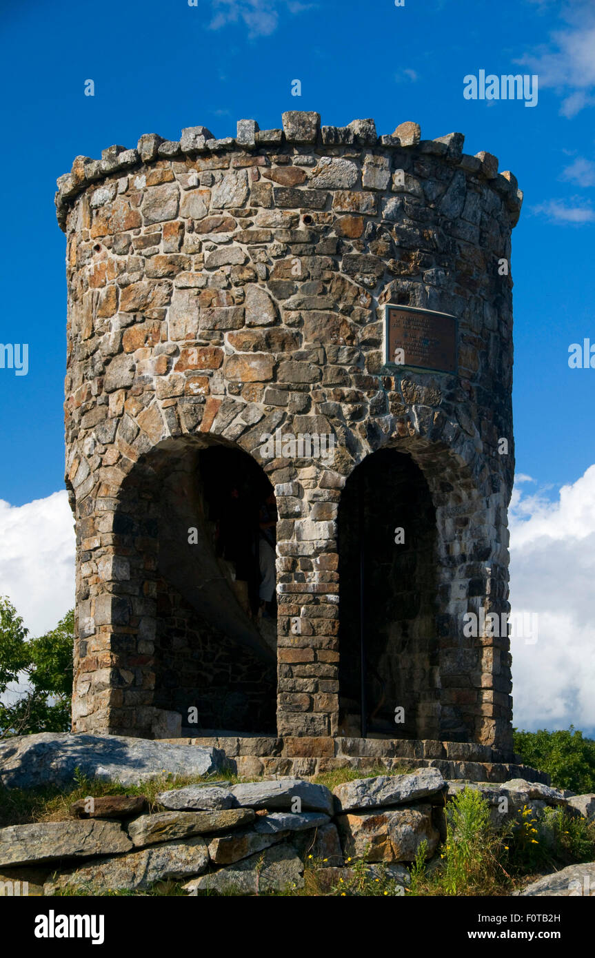 Mt Battie Stone Tower, Camden Hills State Park, Maine - Stock Image