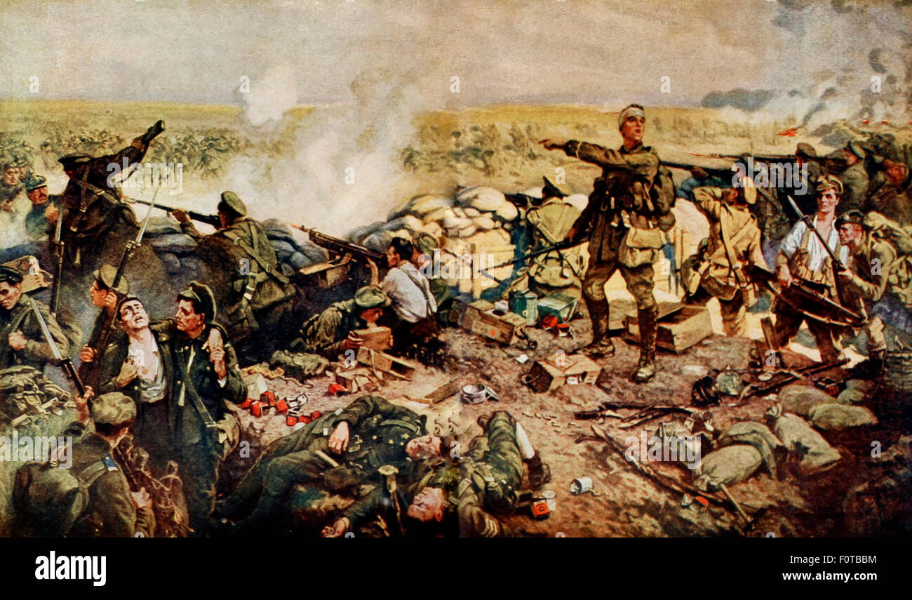 The indomitable Canadians at the famous Battle of Ypres - It was at this battle that the Germans first unloosed - Stock Image