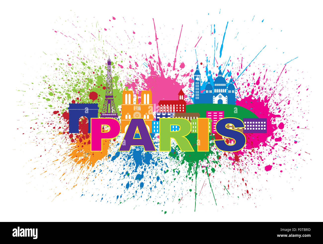 Paris France City Skyline Outline Silhouette Paint Splatter Abstract Colorful Text Isolated on White Background - Stock Image