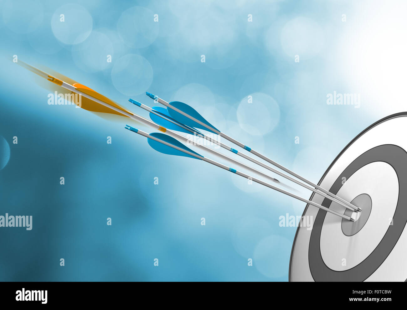 Three blue arrows hitting target center plus an orange one in motion about to hit the bullseye. Concept image for - Stock Image
