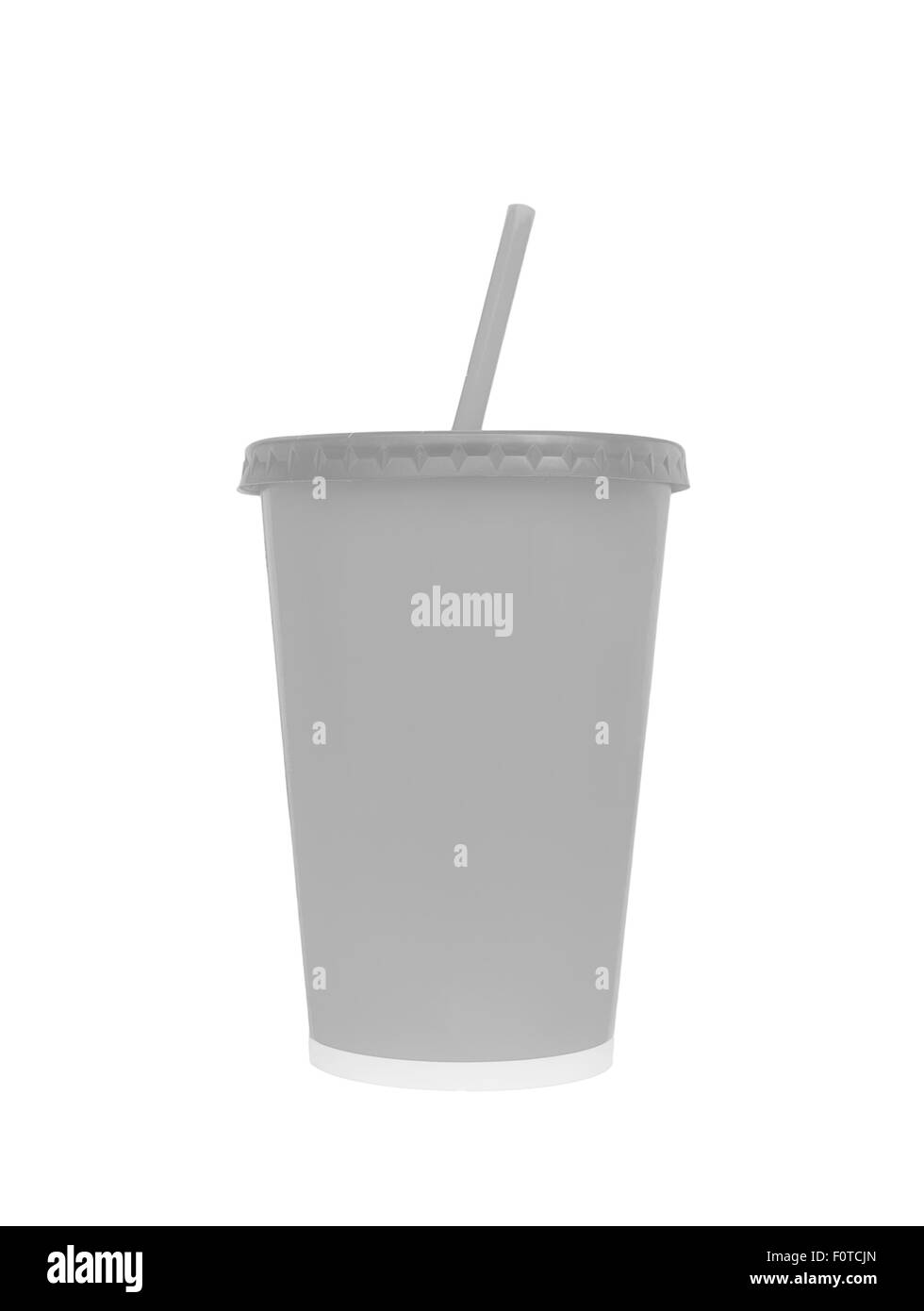 Blank fast food drinking cup, isolated on white background, Clipping paths - Stock Image