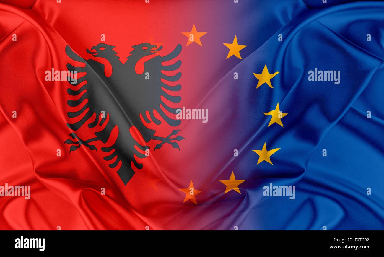 European Union and Albania - Stock Image