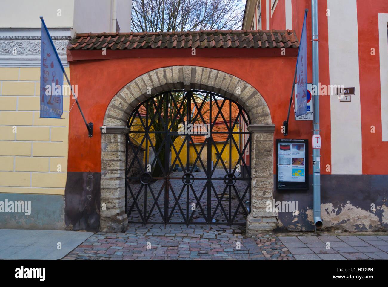 Estonian museum of applied arts and design, Lai street, old town, Tallinn, Estonia, northern Europe - Stock Image