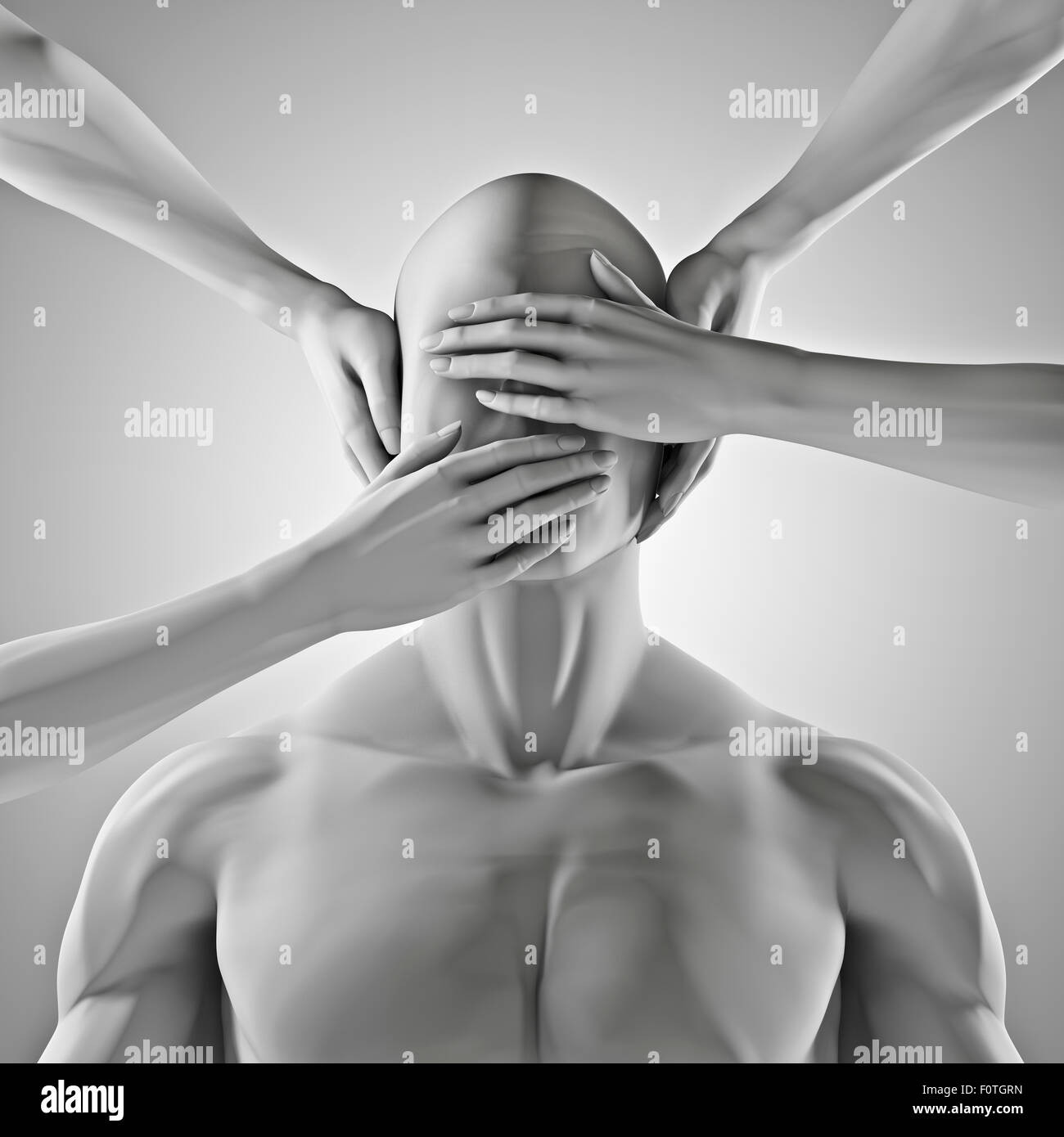 Speak no evil, 3D render of male figure with hands covering eyes, ears and mouth - Stock Image