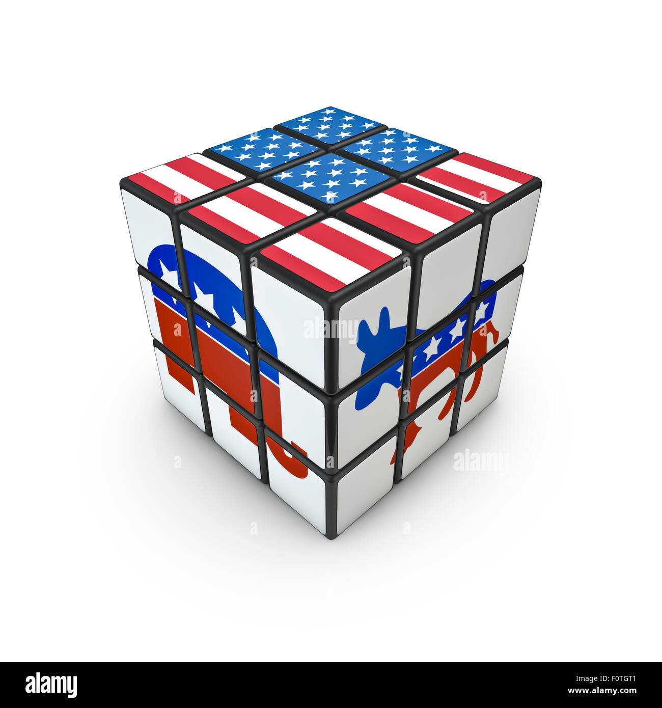 Election Day Puzzle 3d Render Of Puzzle Cube With Usa Flag And