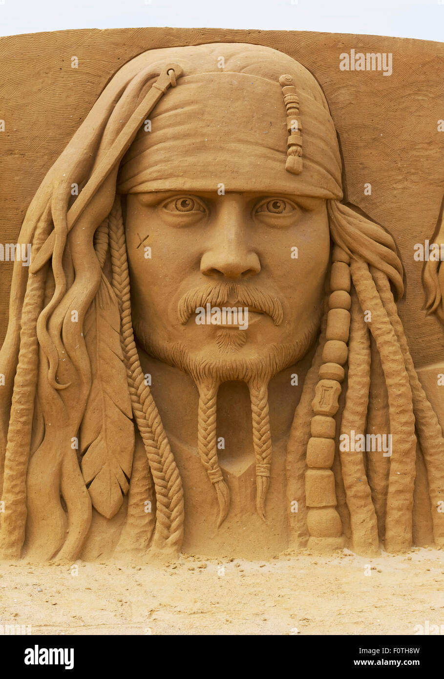 Johnny Depp as Jack Sparrow, sand sculpture, from the film Pirates of the Caribbean, Sand Sculpture Festival Frozen - Stock Image