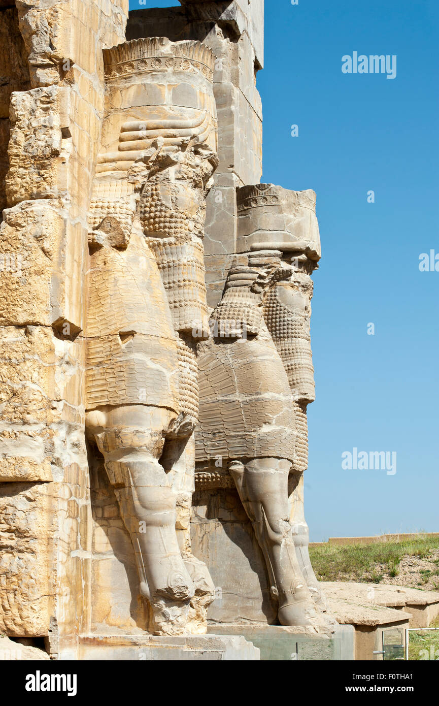 Relief figures at the gate of all nations, ancient Persian royal capital Persepolis, Iran Stock Photo