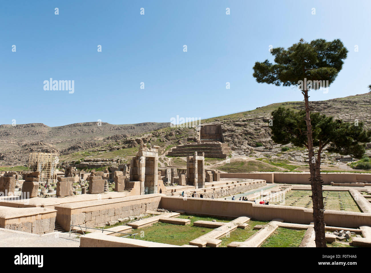 View of the Hall of Hundred Columns and the treasure room to the grave of Artaxerxes II., Ancient Persian city of - Stock Image
