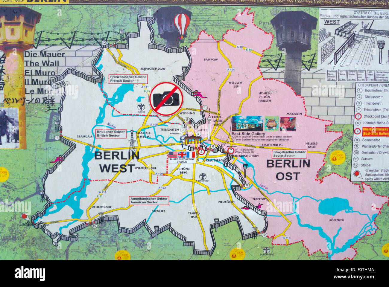 Map showing East and West Berlin before 1990, East Side Gallery, Friedrichshain, east Berlin, Germany Stock Photo