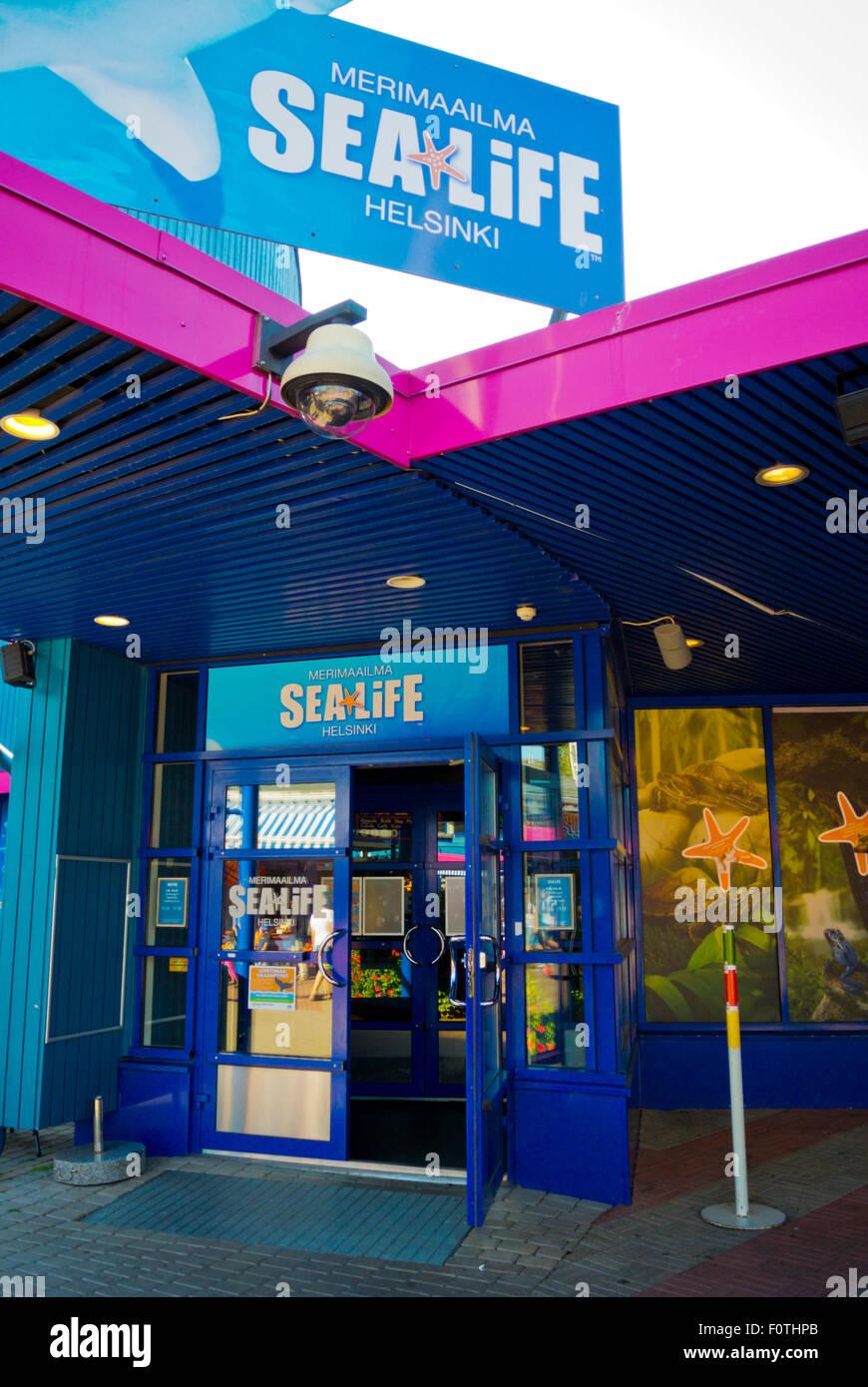 Entrance to Sealife merimaailma maritime exhibition, Linnanmäki, amusement park, Alppila, Helsinki, Finland, - Stock Image