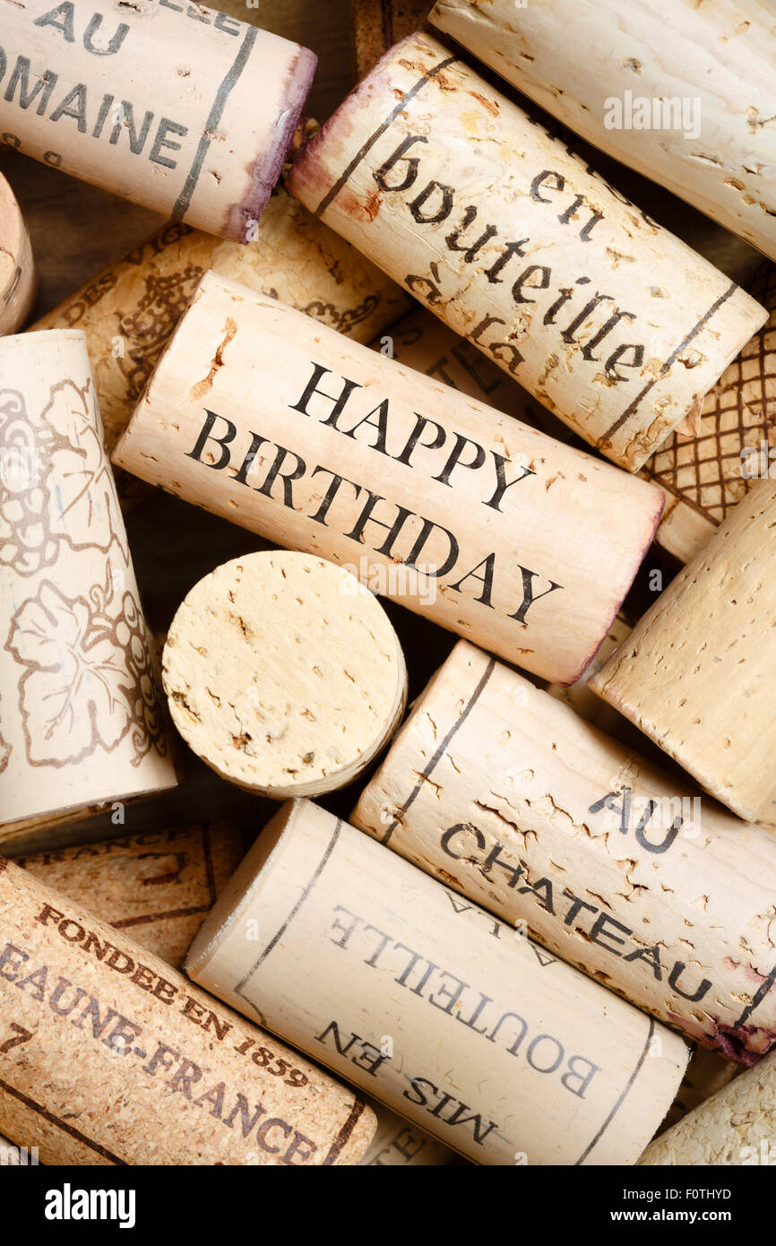 Greeting card made from wine corks with text Happy Birthday - Stock Image