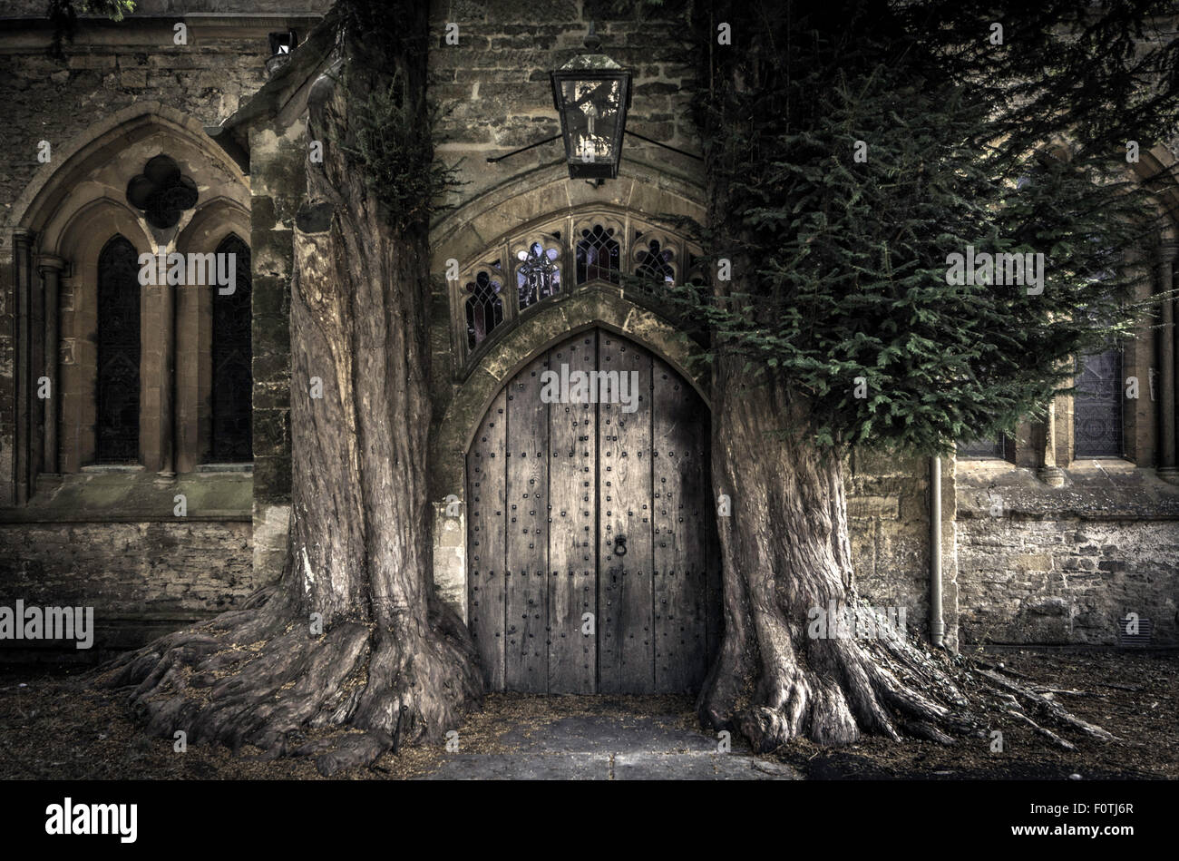 The north door of St Edwards church with two ancient yew trees either side, Stow on the Wold, Gloucestershire, England, - Stock Image
