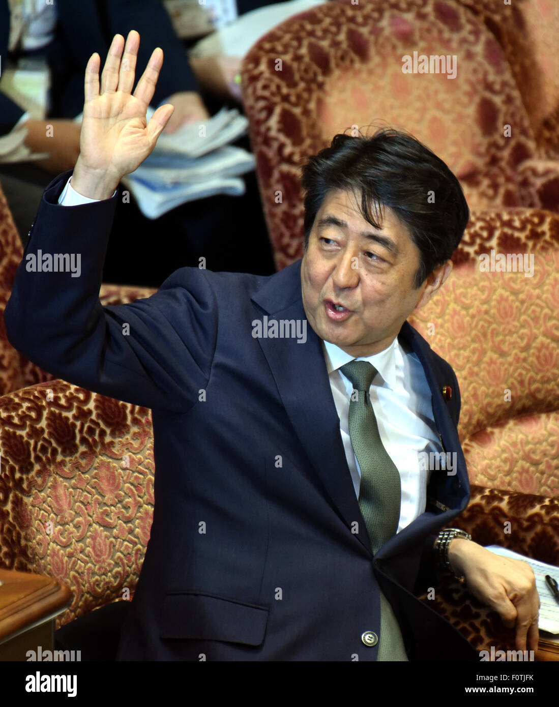 21st Aug 2015 Japans Prime Minister Shinzo Abe Answers Questions From Opposition Lawmakers As Deliberations On The Security Related Bills Continues At