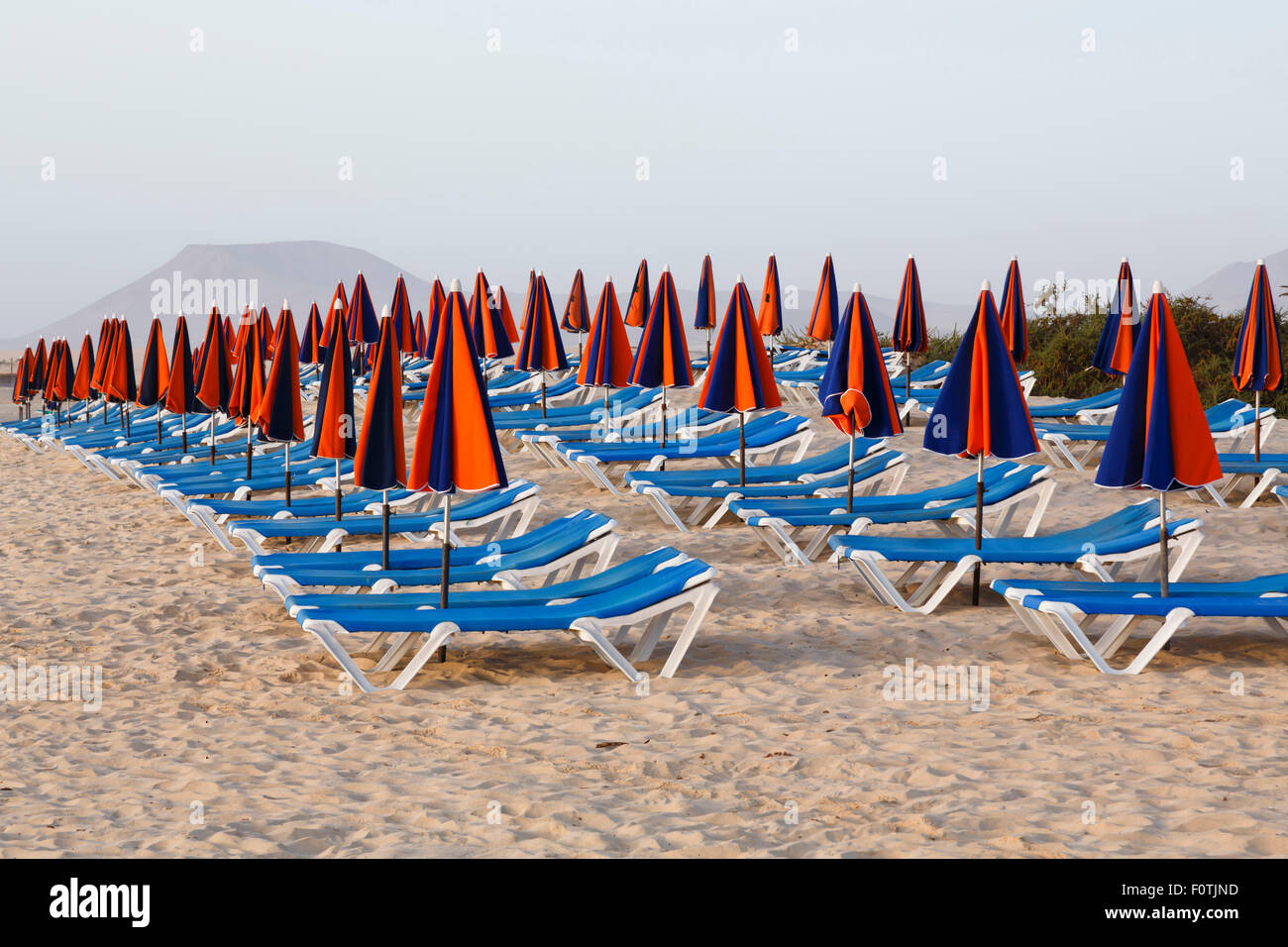 Line of loungers and umbrellas on a sandy beach Stock Photo