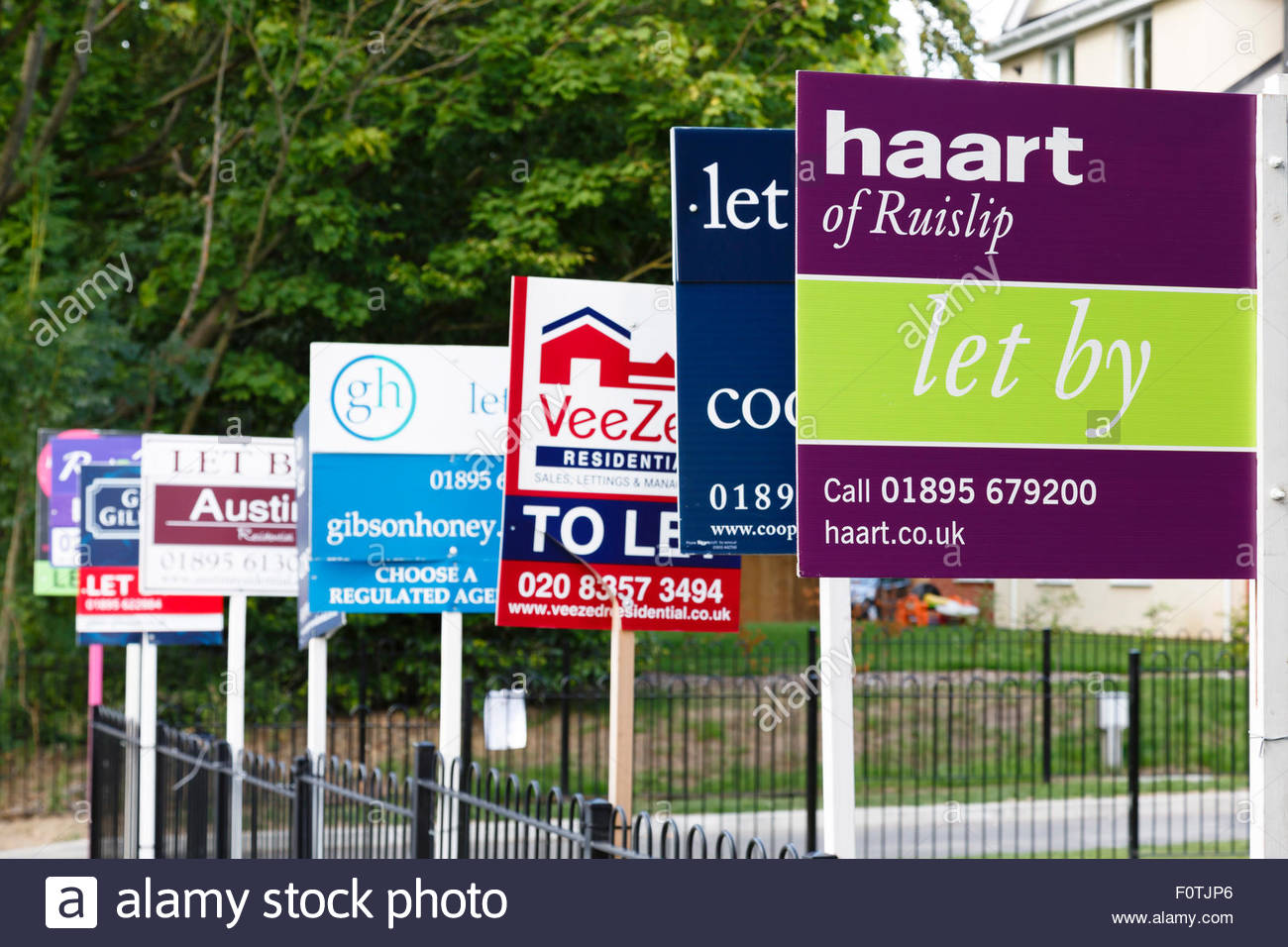 Different To Let property signs in a row in London, UK - Stock Image