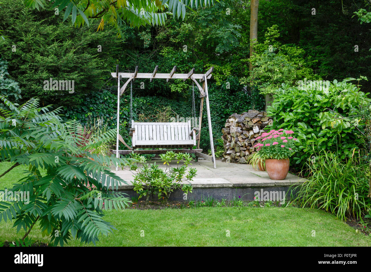Back Garden And Patio With Furniture In A British Home   Stock Image