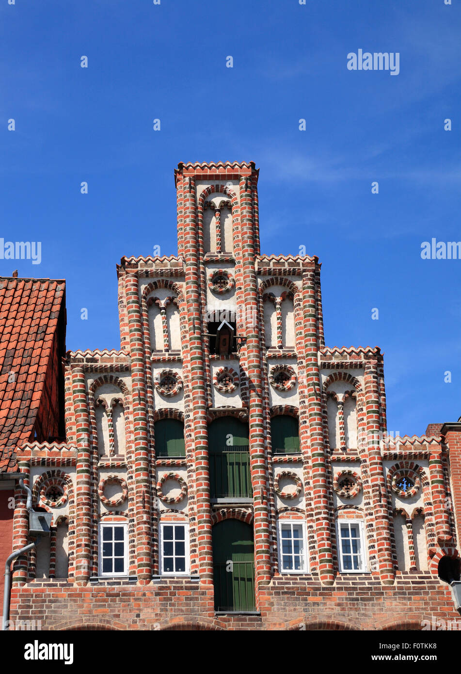 Gable at square Am Sande, Lueneburg, Lüneburg, Lower Saxony, Germany, Europe - Stock Image