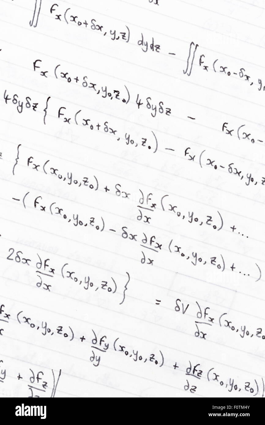Hand written study notes with equations for divergence of vector fields - Stock Image