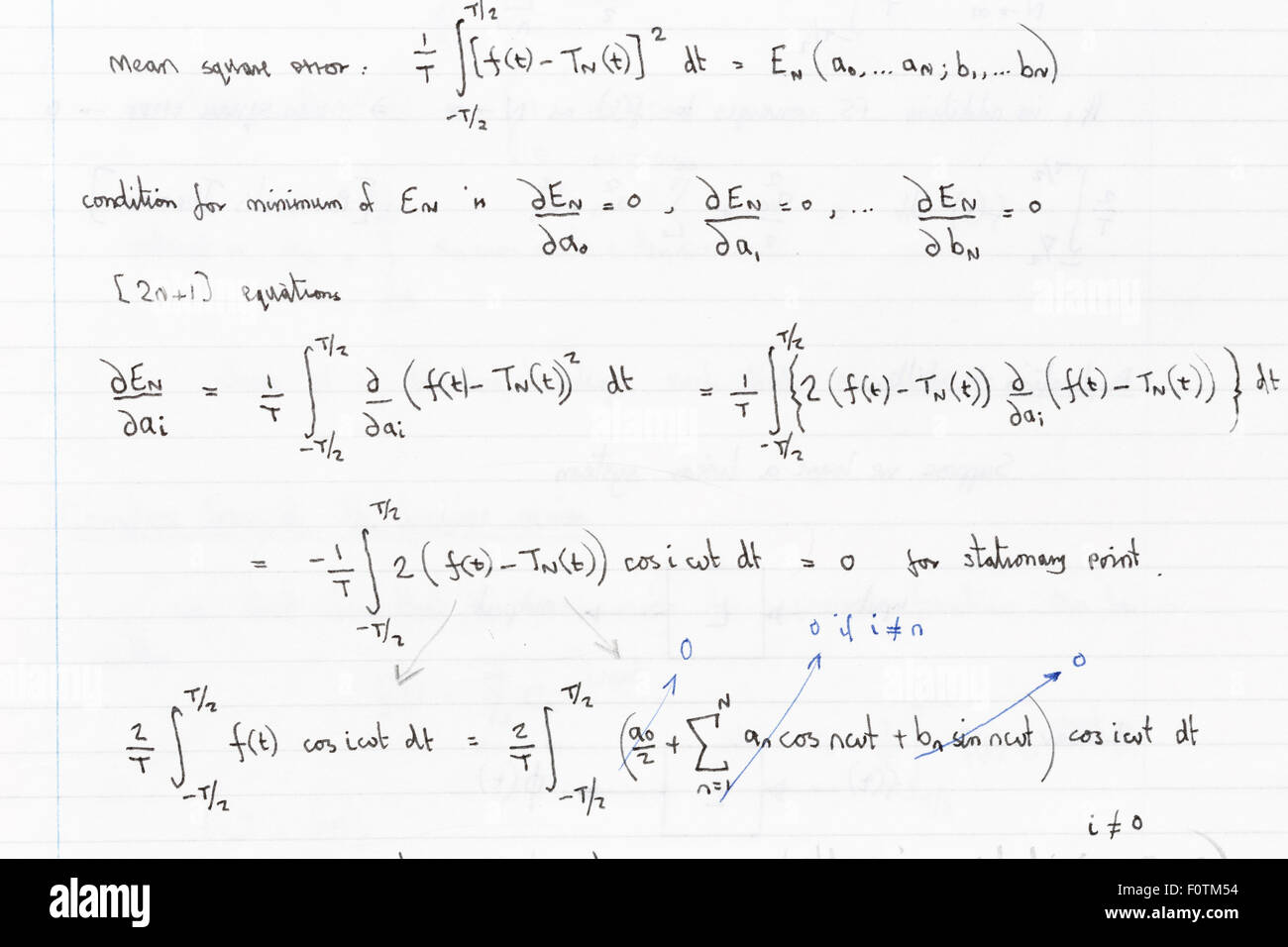 Page of hand wriiten formulae with Fourier analysis functions - Stock Image