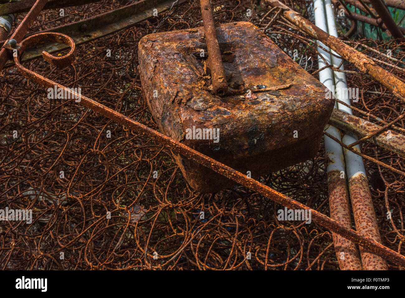 Rusty Iron Work Old Cash Box And Mattress Springs Abstract Metal Stock Photo Alamy