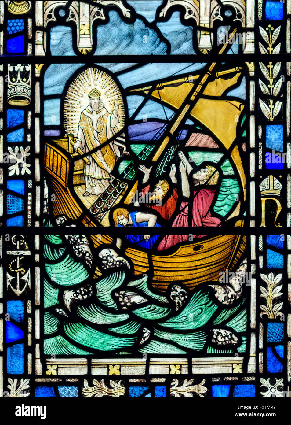 Stained glass window depicting Jesus calming the storm, St. Andrew's Church, Dent, Yorkshire Dales National - Stock Image