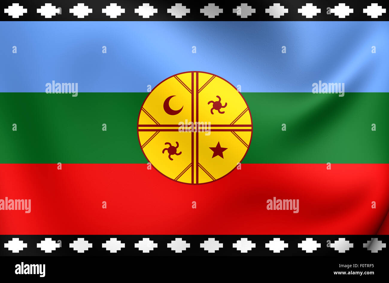3D Flag of the Mapuche. Close Up. - Stock Image