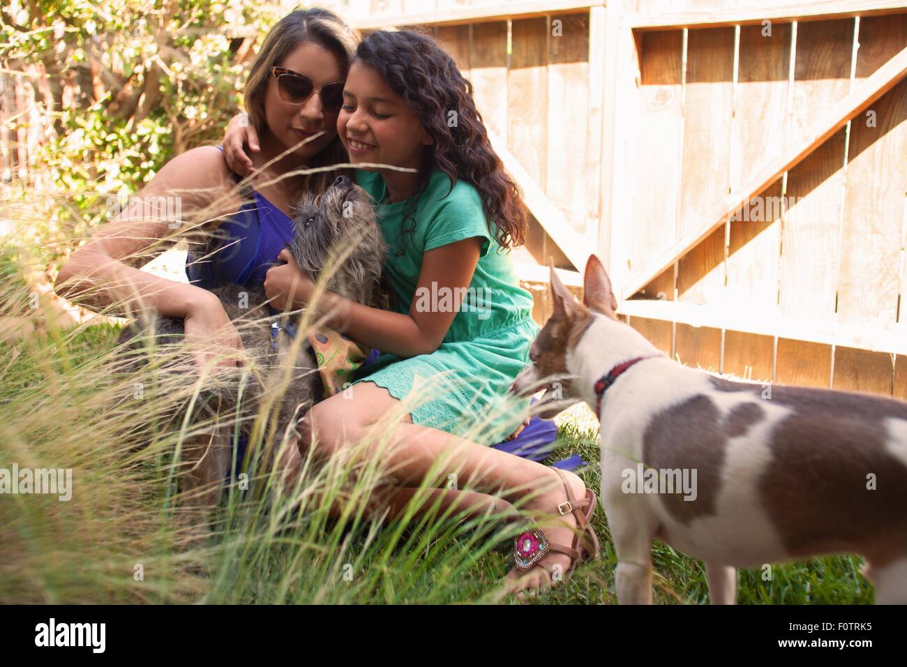 Girl and mother petting dogs in garden - Stock Image