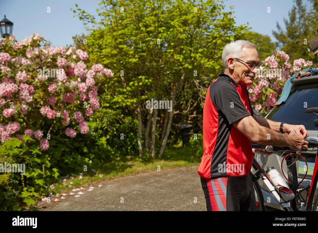 Senior man attaching bicycle to car - Stock Image