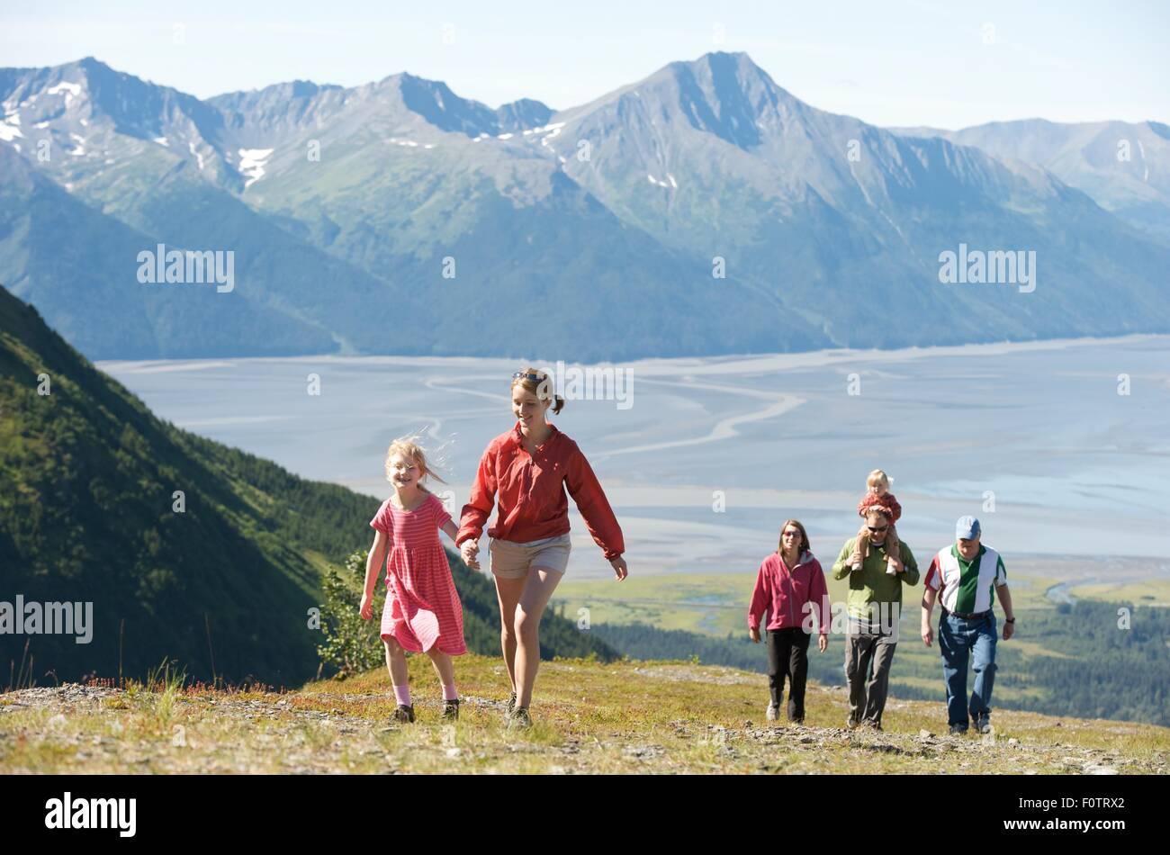 Group of people hiking, Mighty Might Trail, Alyeska Resort, Turnagain Arm, Mt. Alyeska, Girdwood, Alaska, USA - Stock Image