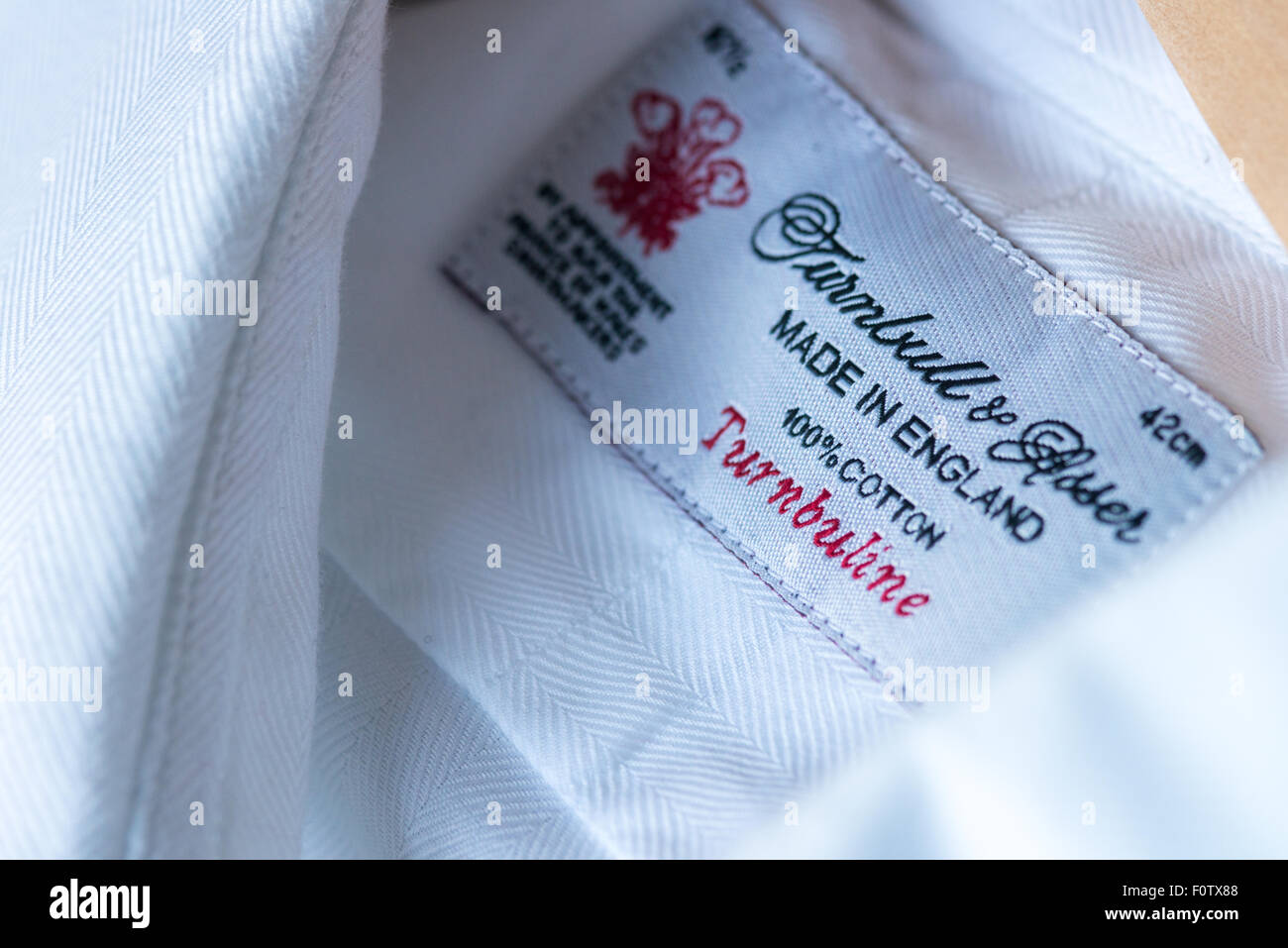 Turnbull & Asser shirt label, made in England - Stock Image