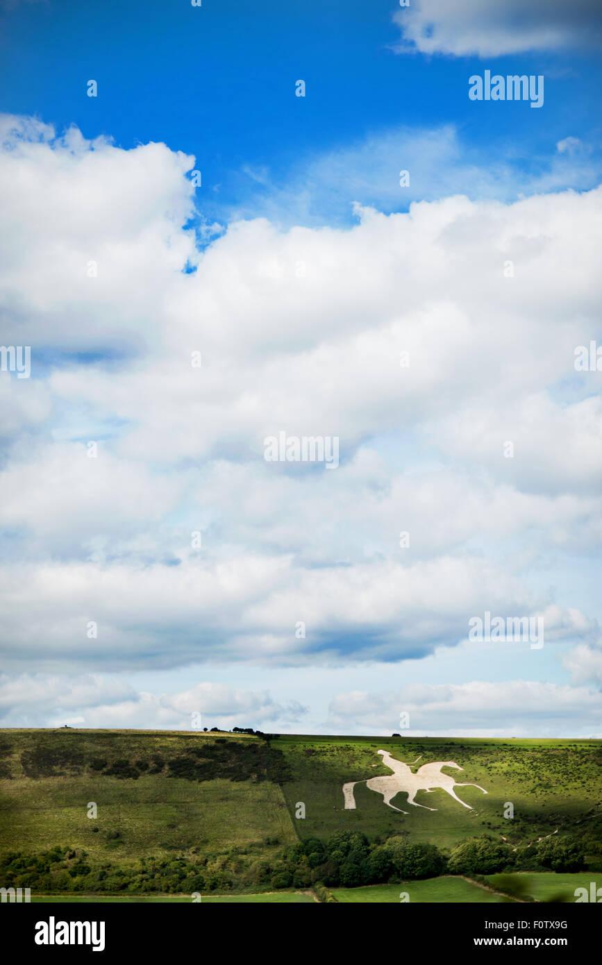 The Osmington White Horse, Chalk horse in hillside Dorset. Stock Photo