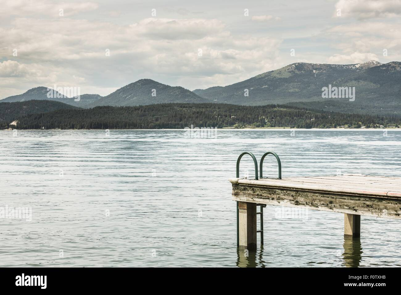 Jetty and water, Sand Point, Idaho, USA - Stock Image