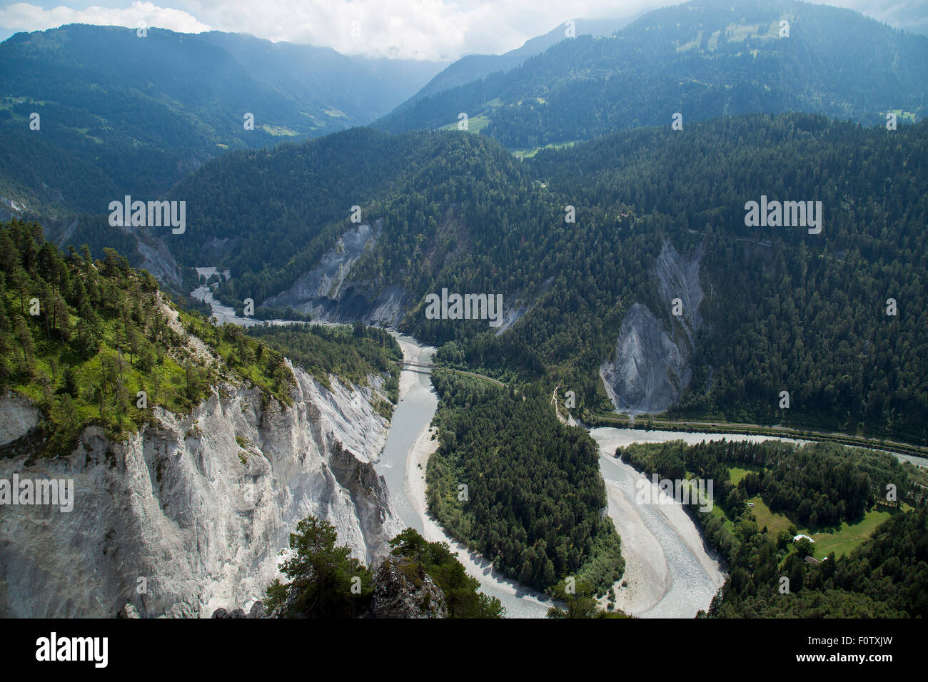Rhne Gorge from Conn in thhe Swiss Alps - Stock Image