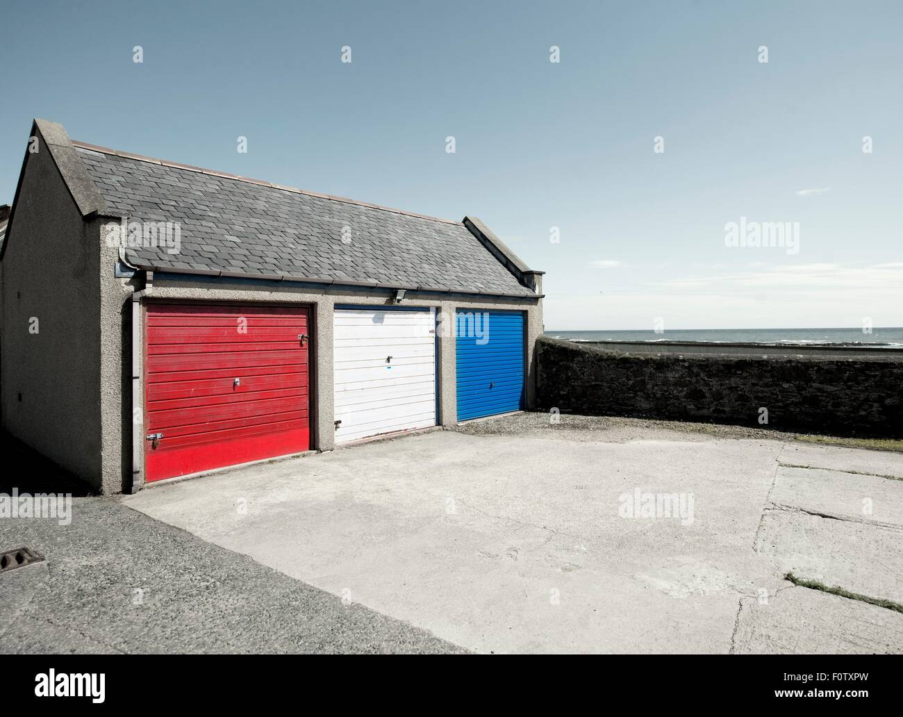 Garage Doors Painted Red White And Blue Johnshaven Aberdeenshire