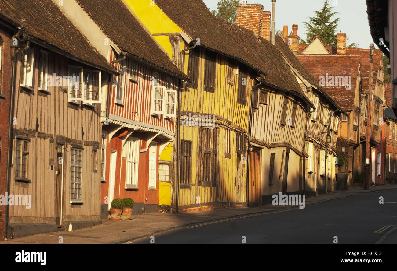 Row of rustic village houses, Lavenham, Suffolk, UK - Stock Image