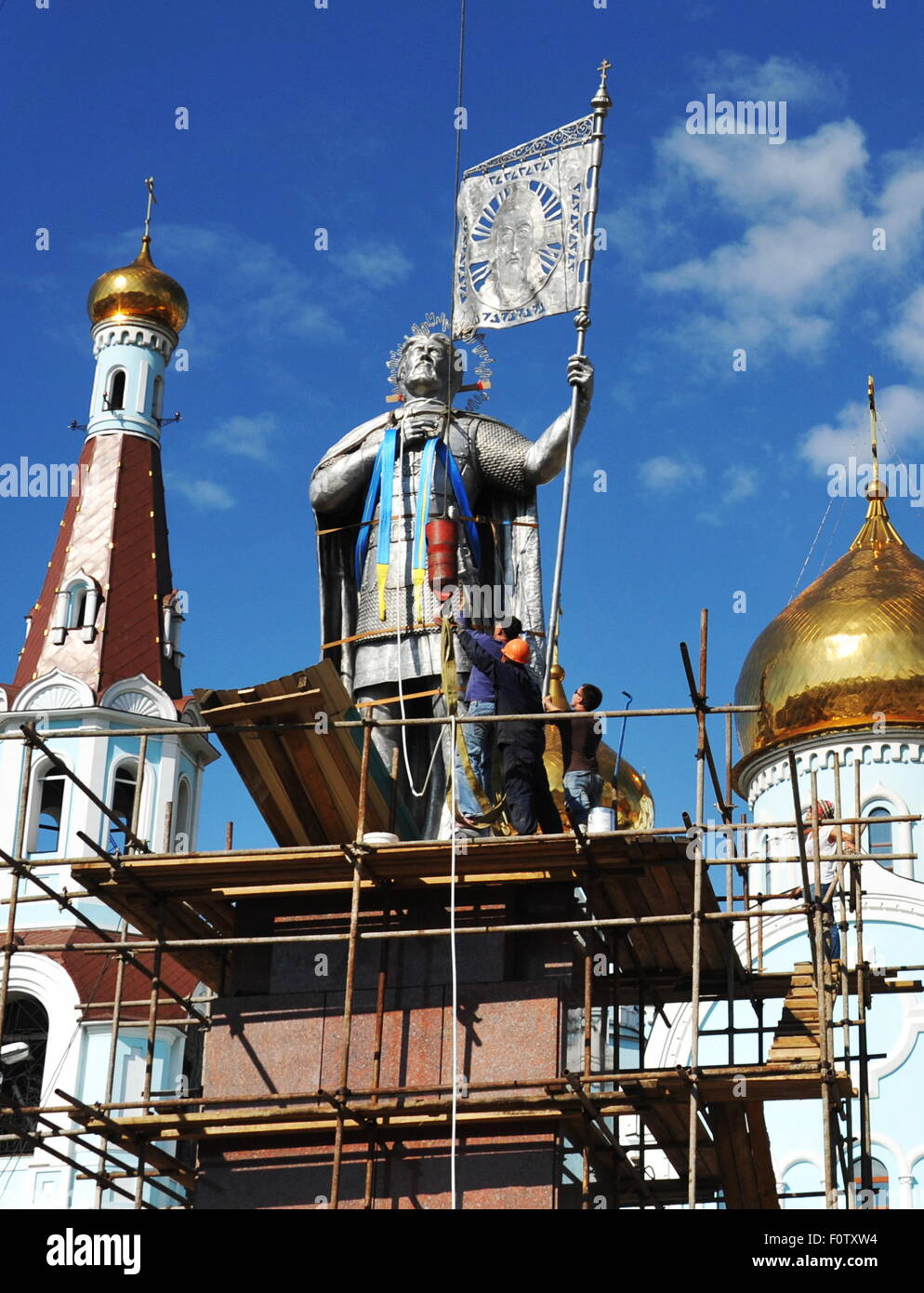 Chita, Russia. 21st Aug, 2015. A statue of Prince Alexander Yaroslavich Nevsky, who is revered as a saint by the - Stock Image
