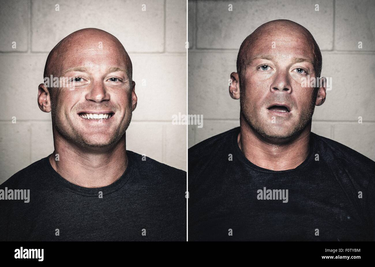 Portraits of young bald man before and after workout - Stock Image