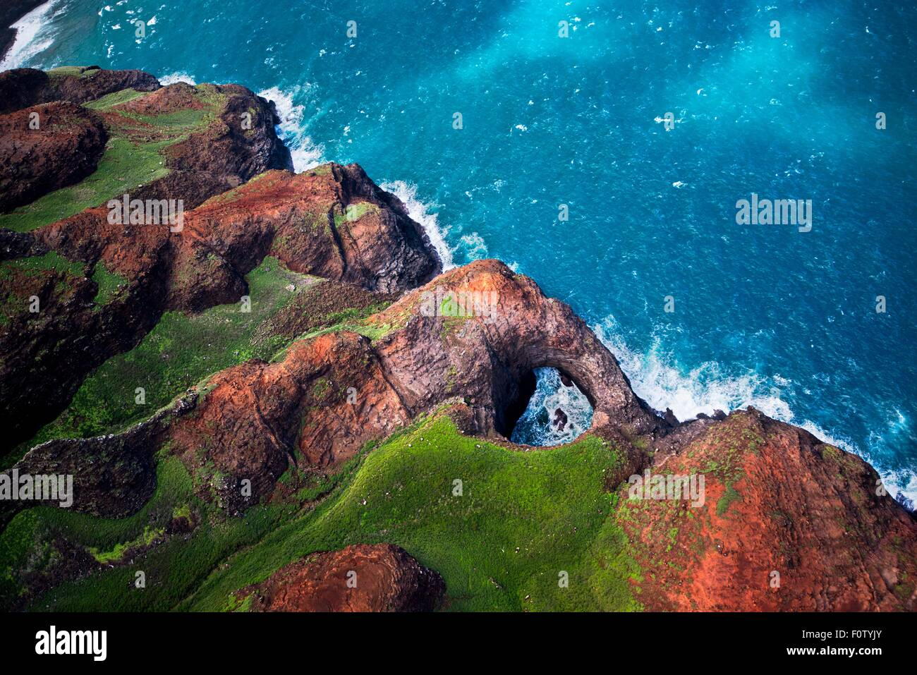 Na Pali coast, North Shore, Kaua'i, Hawaii - Stock Image