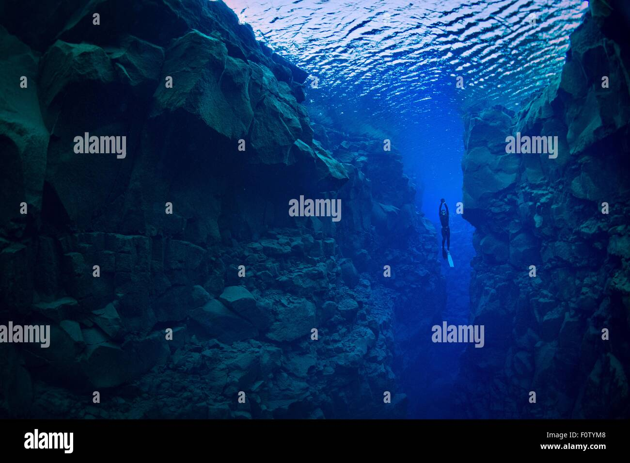 Freediver, Silfra, Iceland - Stock Image