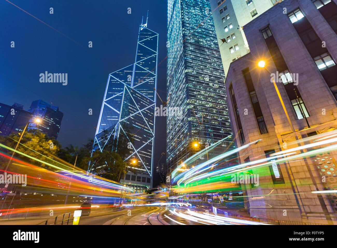 Hong Kong financial district with Bank of China building, Hong Kong, China - Stock Image